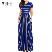 WUHE New Arrival Maxi Dress Classic Striped O Neck Short Sleeve with Pocket High Waist Summer Women Casual Loose Dresses