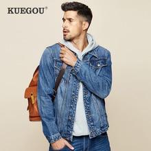 KUEGOU 2019 Autumn 100% Cotton Blue Denim Jacket Men And Coat For Male Hip Hop J