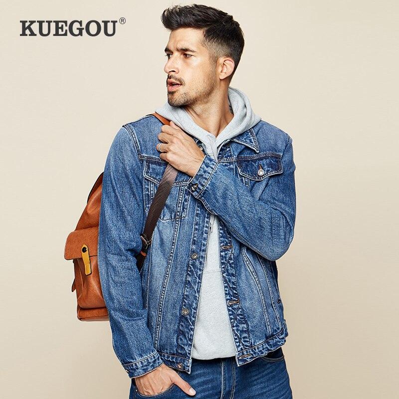 KUEGOU 2020 Herbst 100% Baumwolle Blau Denim Jacke Männer Und Mantel Für Männliche Hip-Hop Japanischen Streetwear Vintage Koreanische Kleidung 2995