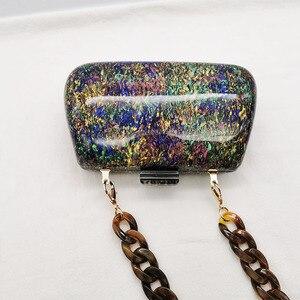 Image 3 - Nieuwe Mode Kleurrijke Acryl Zakken Luxe Vrouwen Messenger Bags Elegante Marmeren Avond Koppeling Tassen Party Prom Wedding Handtassen