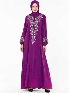 Image 4 - BNSQ Fashion Women Muslim Dress Abaya Islamic Clothing Malaysia Jilbab Djellaba Robe Musulmane Embroidery Maxi Dress Plus Size
