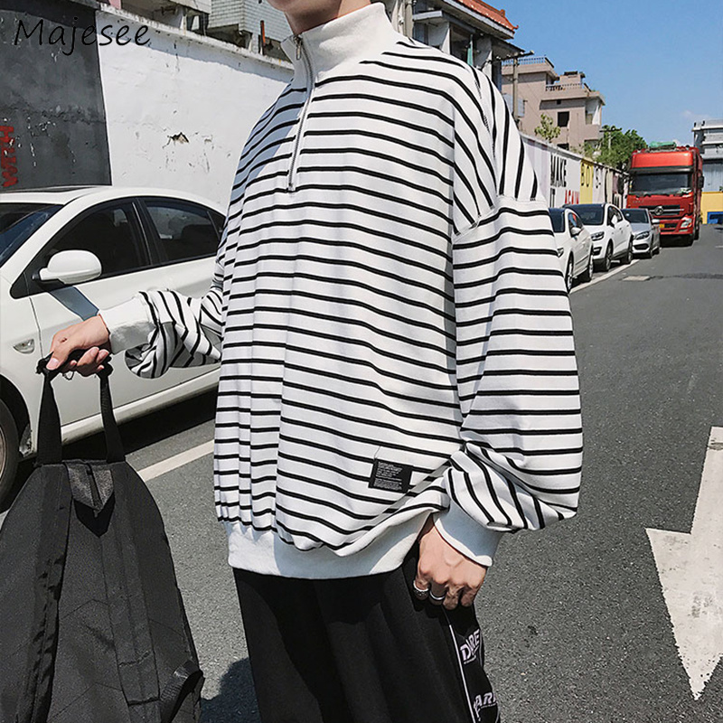 Hoodies Men Striped Leisure Simple All-match Korean Leisure Loose Clothing Mens Korean Stand Collar Harajuku Hip Hop Sweatshirts