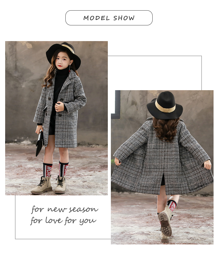 Girls Coat Fashion Plaid Wool Coat For Girls Double-breasted Kids Outerwear Autumn Thick Winter Clothes For Girls 6 8 10 12 14