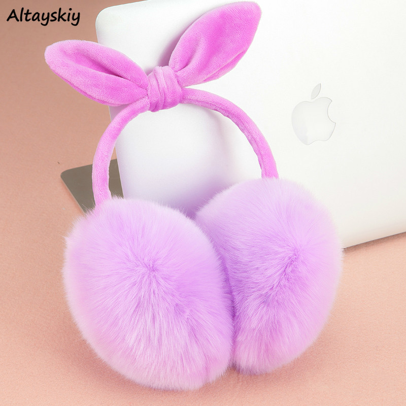 Earmuffs Women Faux Rabbit Fur Earmuff Bow Warm Simple Solid All-match Trendy Womens Kawaii Pink Soft Ladies Lovely Accessories