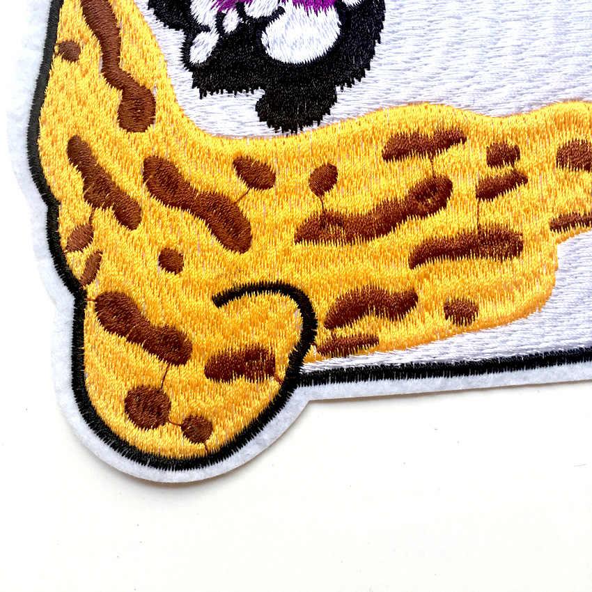 1Pcs Kucing Keren Goold Kualitas Bordir Bordiran Patch untuk Pakaian Besi Pada Patch Bordiran untuk DIY Fashion Clothes