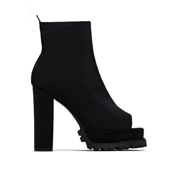ฤดูใบไม้ร่วง/ฤดูหนาวใหม่ 2019 ใหม่ผู้หญิง Zipper รูปแบบงูกันน้ำแพลตฟอร์มส้นสูงหนา soled เปิด toe-หลอดรองเท้า MS