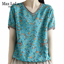 Max LuLu New Summer 2020 Korean Fashion Style Women Vintage Tee Shirts Ladies Casual Floral Printed Tshirts Loose Tops Plus Size