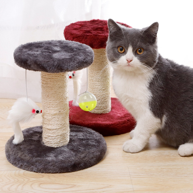 Cat Scratcher Tree Plush Cat Climbing Frame Pet Toy Double Drop Ball Mouse Plush Claw Sisal Column For Cat Grind Claws Catch 4