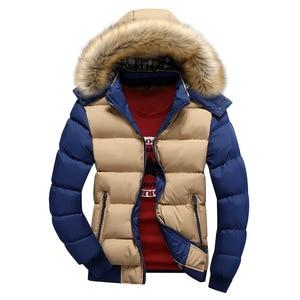 Image 3 - 2020 Men Winter Coat Warm Fleece Down Jacket 9 Color New Fashion Fur Hood Hat Men Outerwear Casual Mens Coats Thick Hoodies 4XL