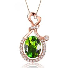 18k Rose Gold Oval Green Gemstone Wedding Pendant Necklace For Women Emerald Green Tourmaline Peridot Gem Pendant Fine Jewelry(China)