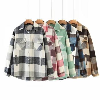 Wool Blend Coat Women Autumn Winter Plaid Jacket Button Long Sleeve Coat Casual Office Warm Overshirt Ladies Spring Chic Tops 1