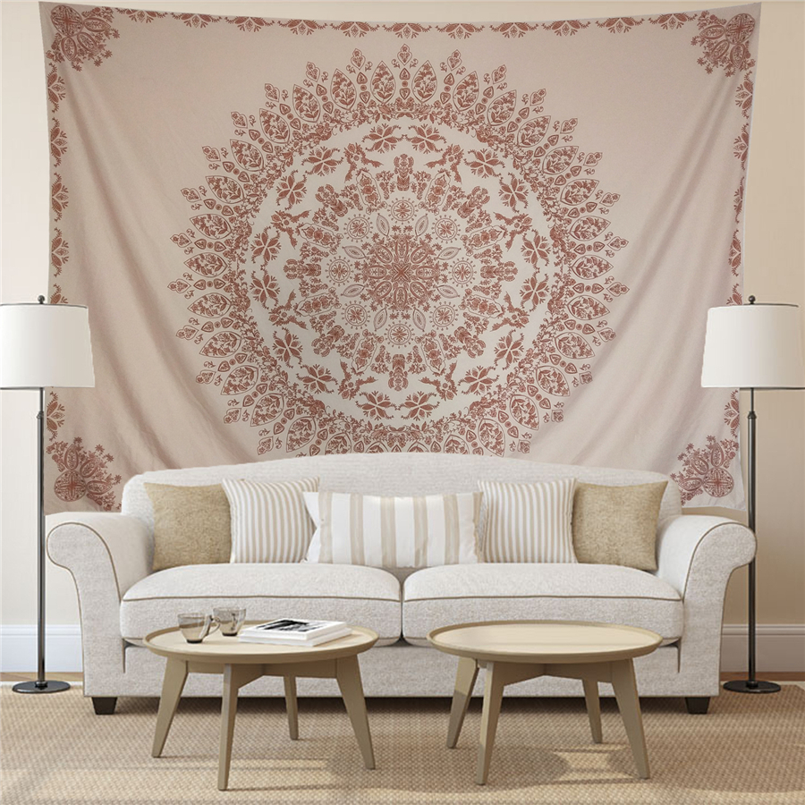 Boho Floral Pink Carpet Wall Tapestry Mandala India Bohemia Elephant Psychedelic Tenture Hippie Home Decor Wall Cloth Tapestries