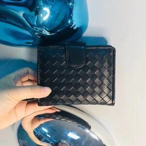 Image 2 - Womens Wallet Short 100% Sheepskin Leather Woven Coin Change Zipper Storage Bag Fashion Simple Luxury Brand MoneyClip2020 New
