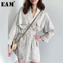 Long-Sleeve Jacket Button Women Coat Linen Big-Size EAM Fashion Fit Tide Lapel Split-Joint