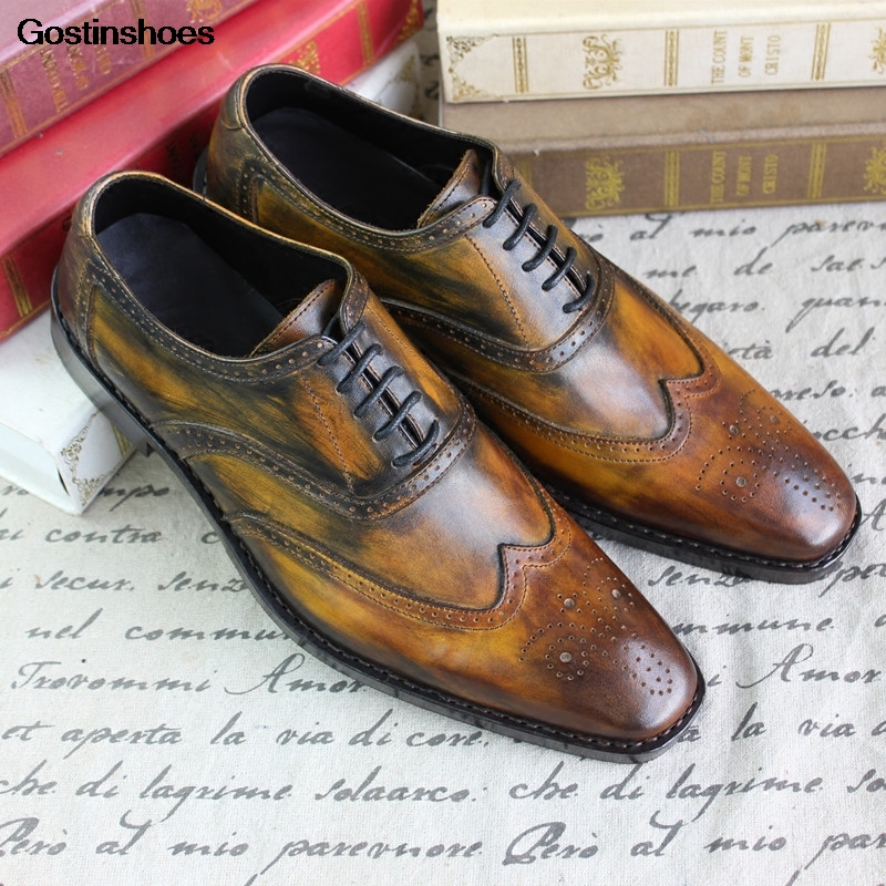 Goodyear Handmade Retro Square Toe Carved Shoes Leather Shoes Cow Leather Genuine Leather Cattle Custom-made Custom Men Oxfords