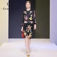 SEQINYY Women Set 2020 Autumn Winter New Fashion Design Luxury Bead Crystal Jacket + Knee Slim Skirt Angel Flowers Print Suit