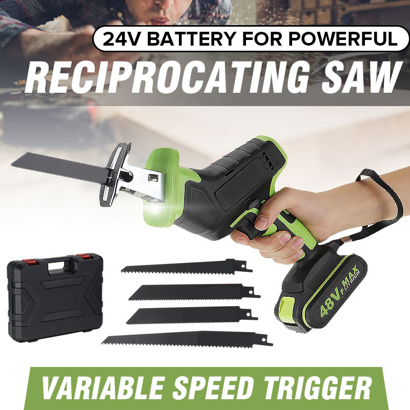 Doersupp Cordless Reciprocating Saw +4 Saw Blades Metal Cutting Wood Tool Portable Woodworking Cutters 48V With 1/2 Battery New