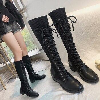 Botas Largas las mujeres Botas Mujer 2019 Botines Bota femenina de moda Botas de invierno Botas de encaje negro-zapatos de las mujeres hasta la rodilla Botas de Size35-40