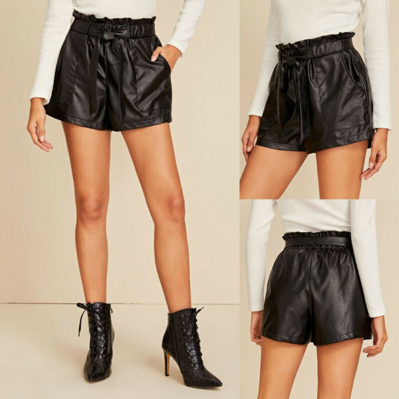 New High Street Womens Ladies PU Leather Pocket Lace Up  Solid PVC Wet Look High Waist Paper Bag Hot Pants Shorts AU