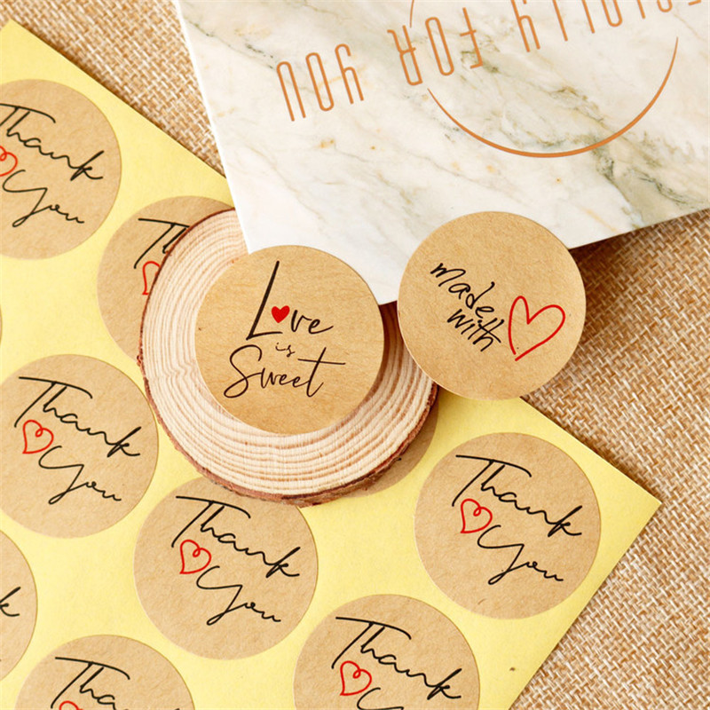 108pcs Round Labels Handmade Kraft Paper Packaging Sticker Dragee Candy Bag Gift Box Packing Bag Wedding Marrige Thanks Stickers