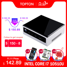 2020 New 10th Gen 2 Lan Mini PC Intel i7 10510U i5 8250U 4 Core 2*DDR4 M.2 NVMe NUC Computer Win10 Pro Linux WiFi USB C DP HDMI