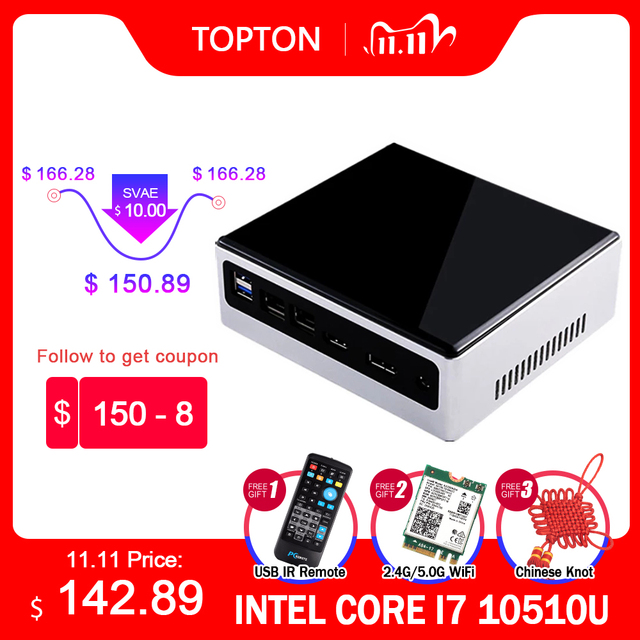 2020 nuovo 10th generazione 2 Lan Mini PC Intel i7 10510U 4 Core 2 * DDR4 M.2 NVMe NUC Computer Win10 Pro Linux WiFi i5 8250U DP HDMI