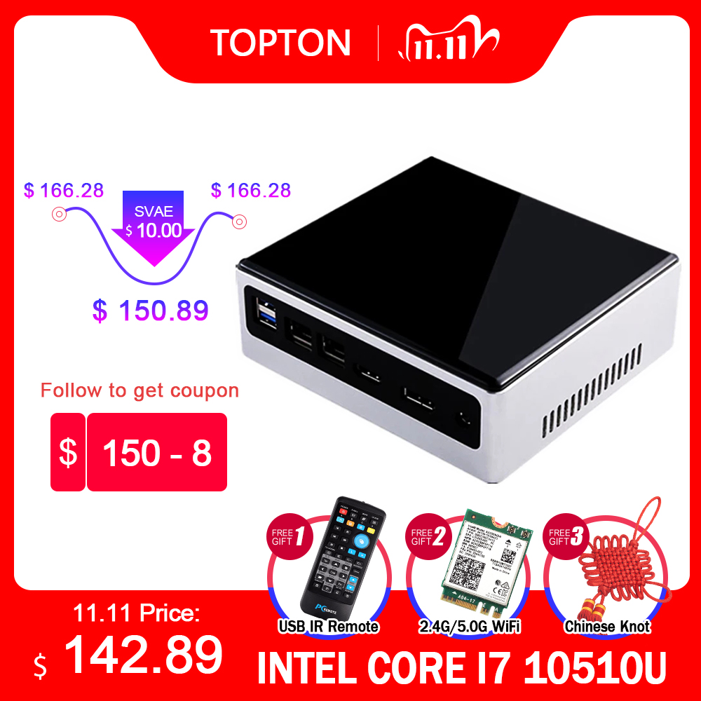 2020 Новый 10th Gen 2 Lan Мини ПК Intel i7-10510U i5-8250U 4 Core 2 * DDR4 M.2 NVMe NUC компьютер Win10 Pro Linux, Wi-Fi, USB-C DP HDMI