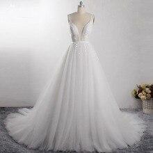 LZ400 Shiny Parels Kleine Bloemen Trouwjurk V hals Mouwloos A lijn Bridal Jurk Met Sluier Vestido De Noiva