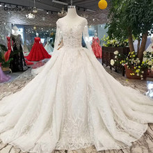 LSS085 fast free shipping beauty wedding gowns o-neck long sleeve ball gown flowers wedding dresses royal long train new design(China)
