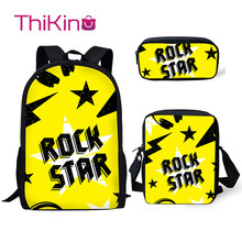 Thikin New School Bags for Boys Rock Stars Pattern 3Pcs Backpacks Girls Kids Book Children Supplies
