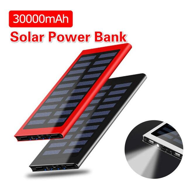 Solar Power Bank 30000mAh Portable Waterproof Battery Powerbank Fast Charging External Battery LED for All smartphones 1