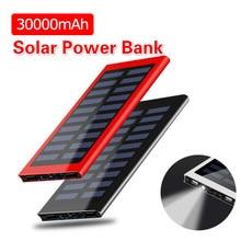 Solar Power Bank 30000mAh Portable Waterproof Battery Powerbank Fast Charging External Battery LED for All smartphones
