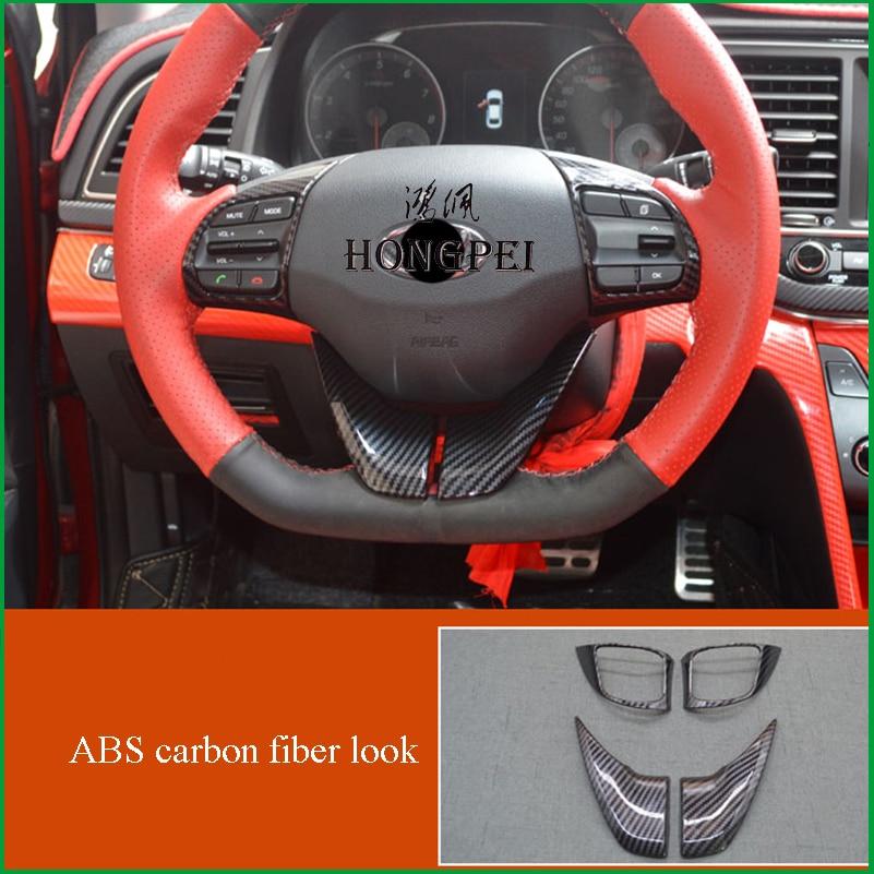 Car Interior Steering Wheel Button Decoration Cover Sticker Trim for Hyundai Elantra Sport 2017 2018 Auto Parts