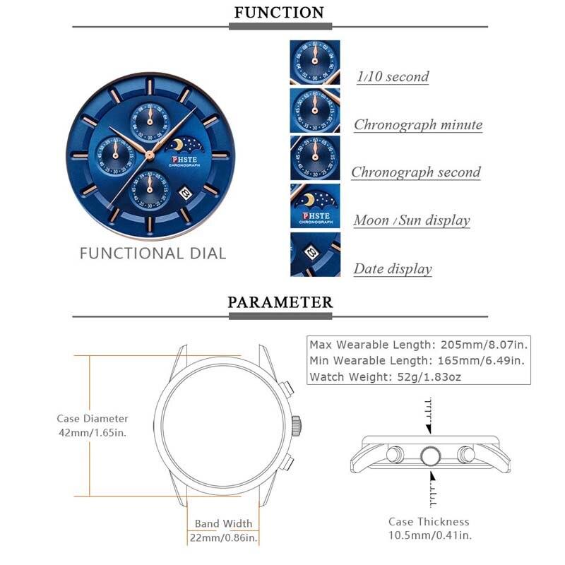 Image 3 - PHSTE Brand Luxury Men Watch Quartz Chronograph Moon Phase Date Waterproof Genuine Leather Blue Rose Gold Male Sport Wrist WatchQuartz Watches   -