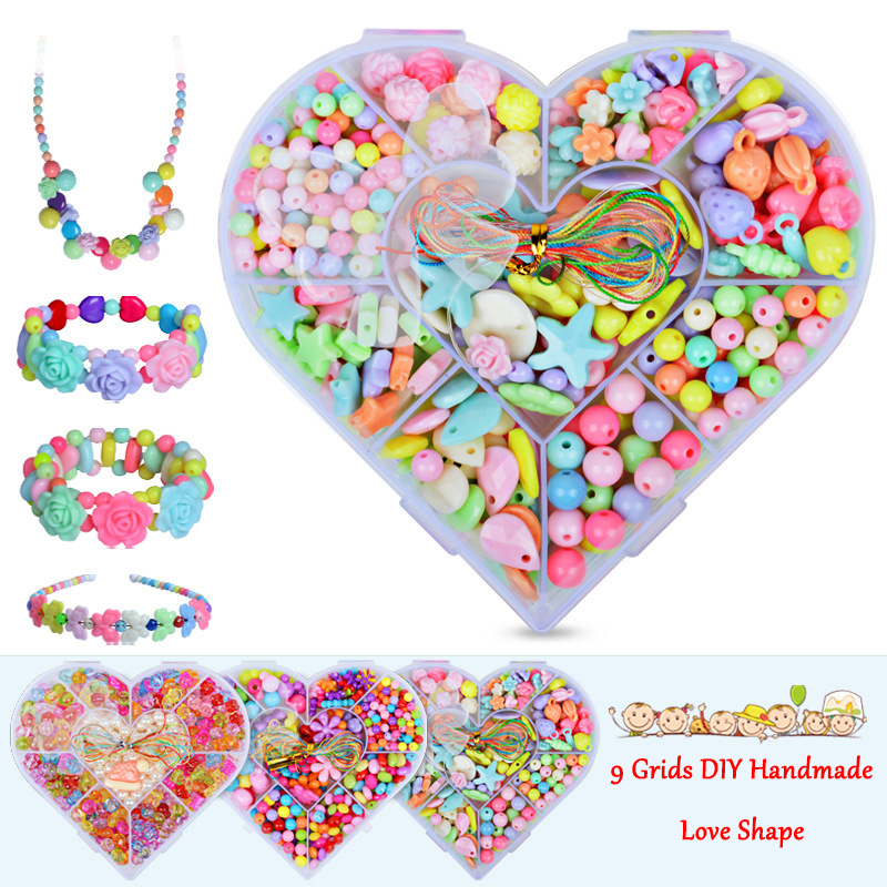 Diy Handmade Beaded DIY Toy With Accessory Set Children Creative 9 Grid Girl Jewelry Making Toys Educational Toys Children Gift