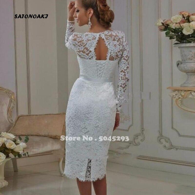 PromoteÑSATONOAKI Vintage Tea Length Lace Long Sleeves Short Wedding Dresses 2020 vestido de noiva Sheath High Jewel Neck Bridal Gowns