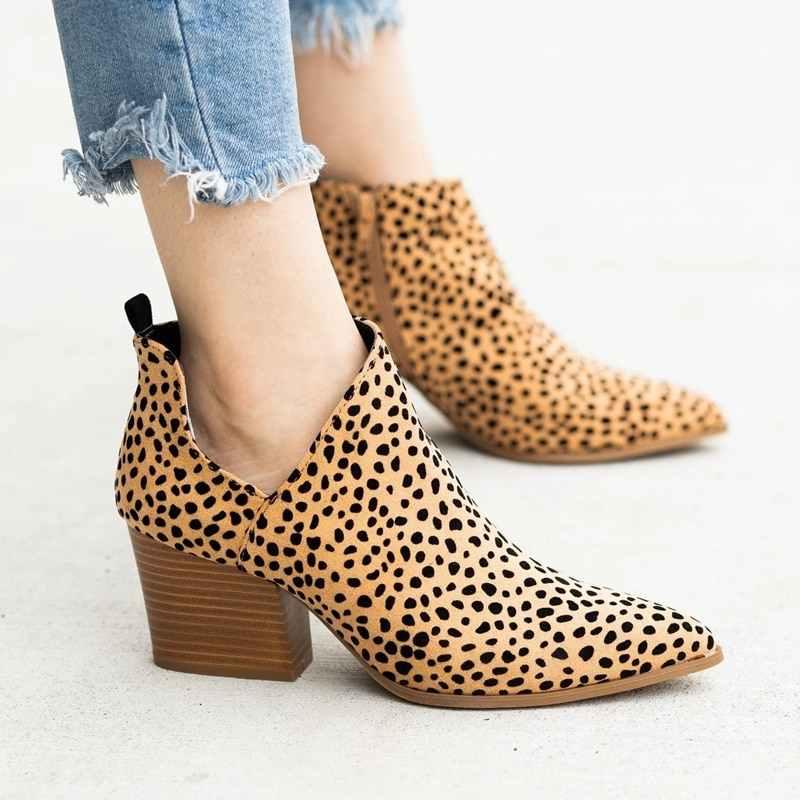 LOOZYKIT 2019 Chic automne femmes chaussures rétro talon haut bottines femme bloc mi-talons décontracté Botas Mujer bottines Feminina