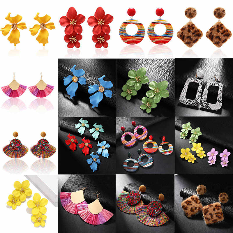 Handmade Personalized Bohemian Statement Tassel Earrings Brico Big Flower Drop Earring For Women European Wholesale jewelry