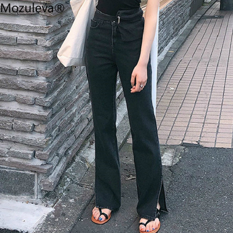 Mozuleva Spring New High Waist Jeans For Women Chic Straight Denim Jeans Split Loose Streetwear Female Black Jeans Femme 2020