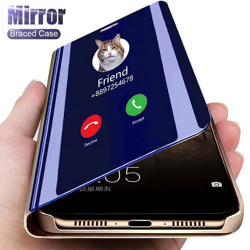 Smart Mirror Flip Case For Huawei P40 P30 P20 Pro Lite Honor 20 Pro 10 9 Lite 10i 9C 9S 9A 9X 8X 8A 8S P Smart 2019 2020 Cover(China)