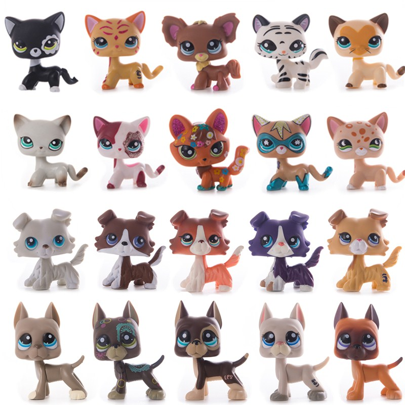 Lps Pet Shop Cat Toys Short Hair Cat Collie Dog Lps Collection Action Standing Figure Cosplay Toys Children Best Gift