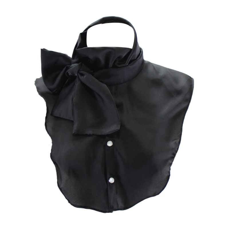 Women Smooth Satin DIY Bowtie Half Shirt Pleated Ruffles Stand Detachable Fake Collar Adjustable Necklace Choker With Buttons