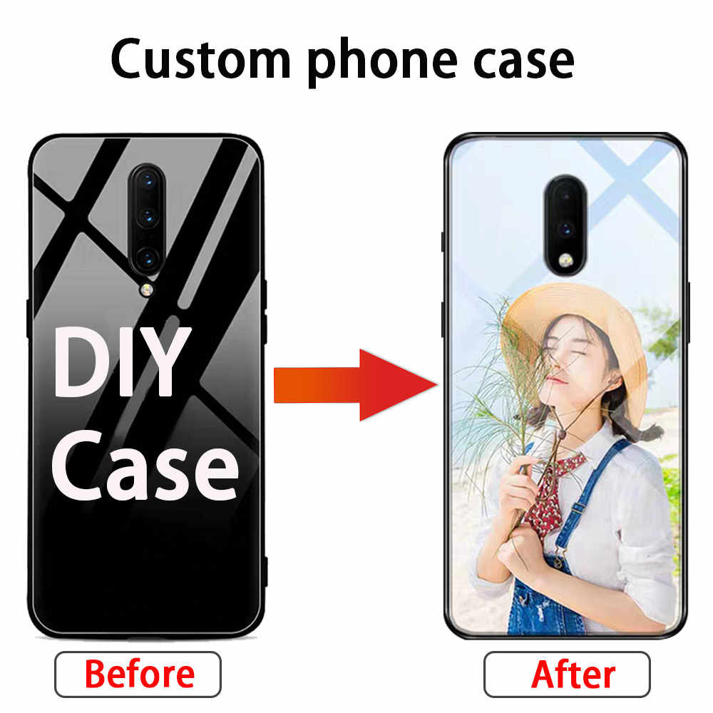 DIY Phone Case for Oneplus 7 Pro Case Personal Customize Tempered Glass Case for Oneplus 7 Cover Unique Anti-knock Custom Conque