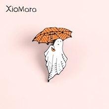 Pin esmaltado de fantasma para Joyería de Halloween, paraguas de tela de araña, broches mágicos de calabaza, insignias de solapa, pines para regalo de Festival