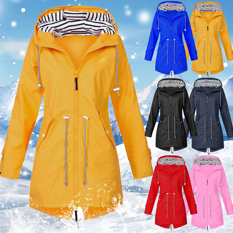 Women Windproof Long Hooded Jackets Waist Tightening With Zip Thin Outwear Multi Color Autumn Winter Coats Women Windproof Long Hooded Jackets Waist Tightening With Zip Thin Outwear Multi Color Autumn Winter Coats Sporting Outdoor Coat
