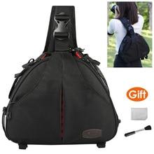 Camera Video Sling Shoulder Cross Body Triangle Package Bag Case Waterproof w/ Rain Cover Men Women Soft Padded for Canon Nikon