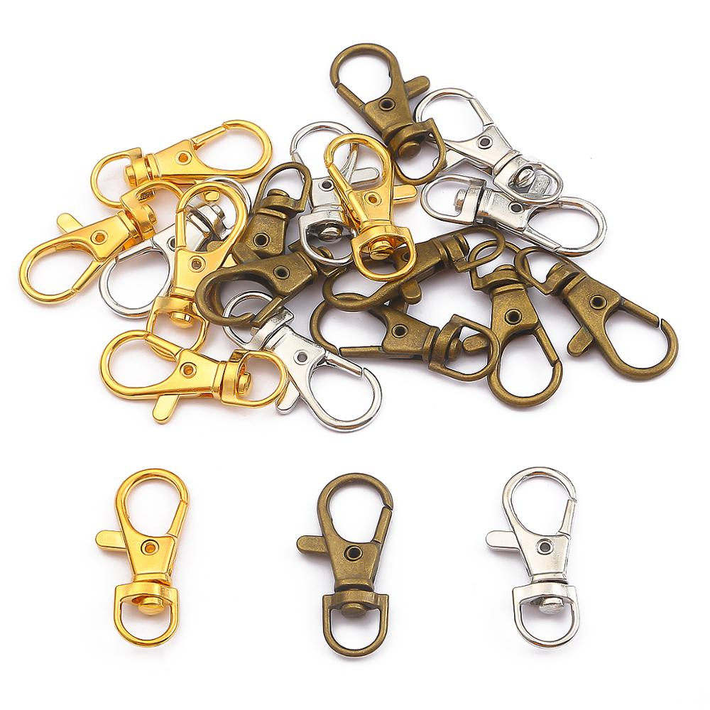 Metal Alloy Round Keyring Clasps Platinum 13 x 35mm  5 Pcs Findings Jewellery