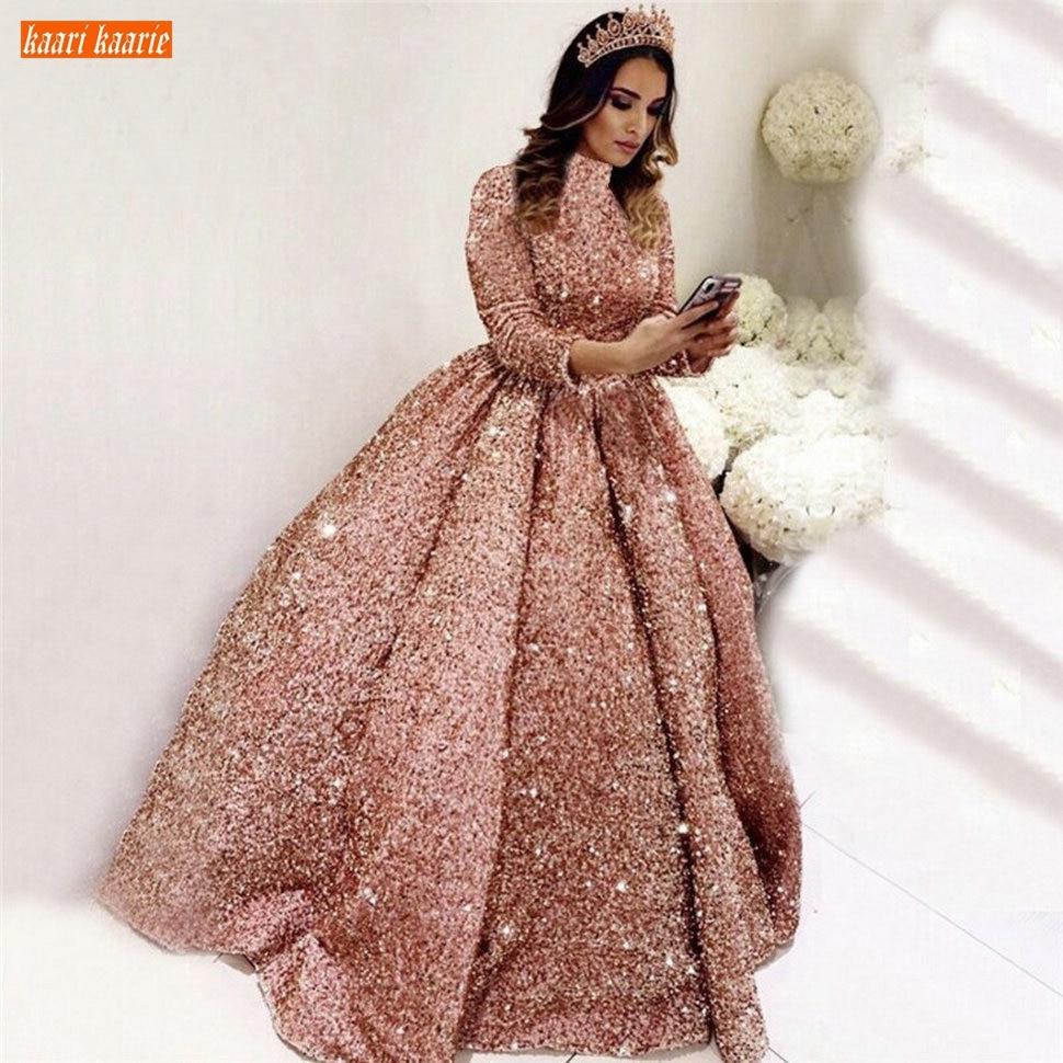 Glitter Muslim Pink Wedding Dresses Long Sleeves Sequined Lace Up Ball Gown Dubai Bridal Dress Custom Made 2020 Vestido De Noiva