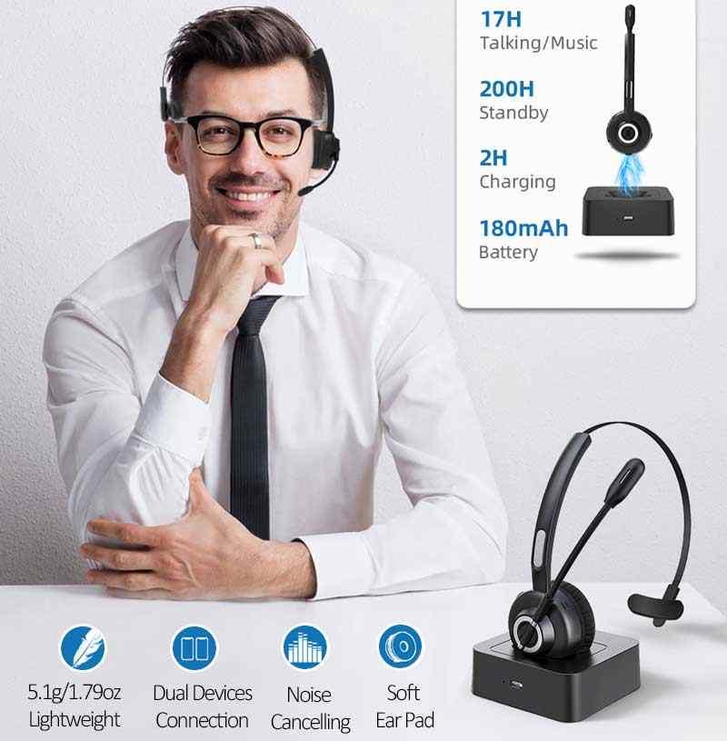 Cuffie Bluetooth Per Camionista Senza Fili Per Ufficio Professionale Cuffie Bluetooth Per Telefono Cellulare Skype Chiamata Cvc6 0 Supporto Riproduzione Di Musica A2dp Auricolari E Cuffie Bluetooth Aliexpress