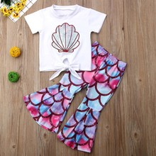New Summer Kids Girls Seashell Pattern T-shirt Big Wide-legged Fish Scales Pants Set Girl Suit 0-5T Mermaid Baby Girl Clothes colorful scales pattern blazer and pants twinset